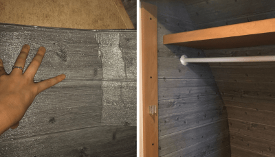 "Decorative foam ""faux shiplap"" wall panels used to insulate RV closet"