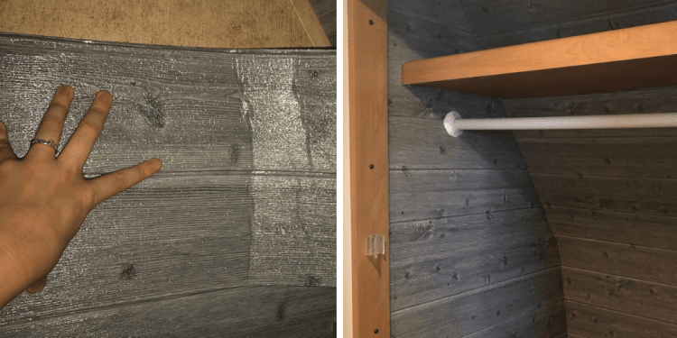 "Decorative foam ""faux shiplap"" wall panels used to insulate RV closet"