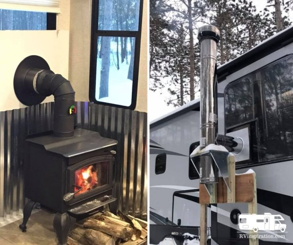 Wood stove in an RV | rvinspiration.com
