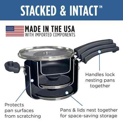 Nested saucepans for saving space in a camper kitchen