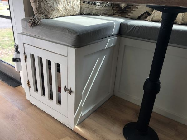 Custom dog kennel added under dinette