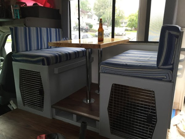 Dining booth converted to dog kennel in RV