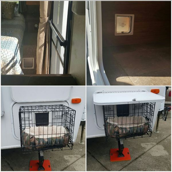 Catio attached to RV storage area