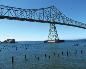 The Astoria-Megler bridge spans the Columbia River.