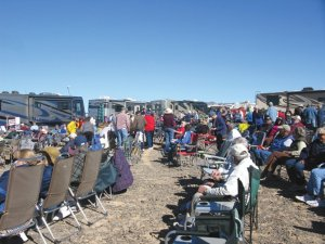 An RV club rally draws a large crowd in Quartzsite, Arizona.