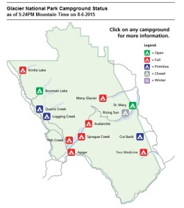 Map of Campgrounds In Glacier NP