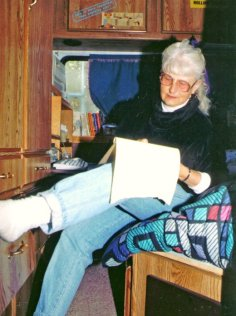 Sharlene in her RV-office