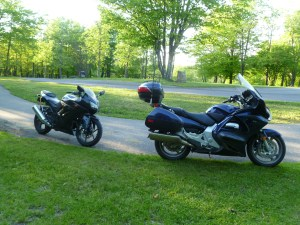 Motorcycles at campground.