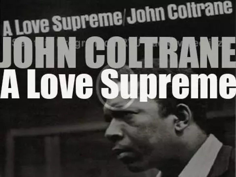 John Coltrane records the album : 'A Love Supreme' with  Jimmy Garrison and Elvin Jones (1964)