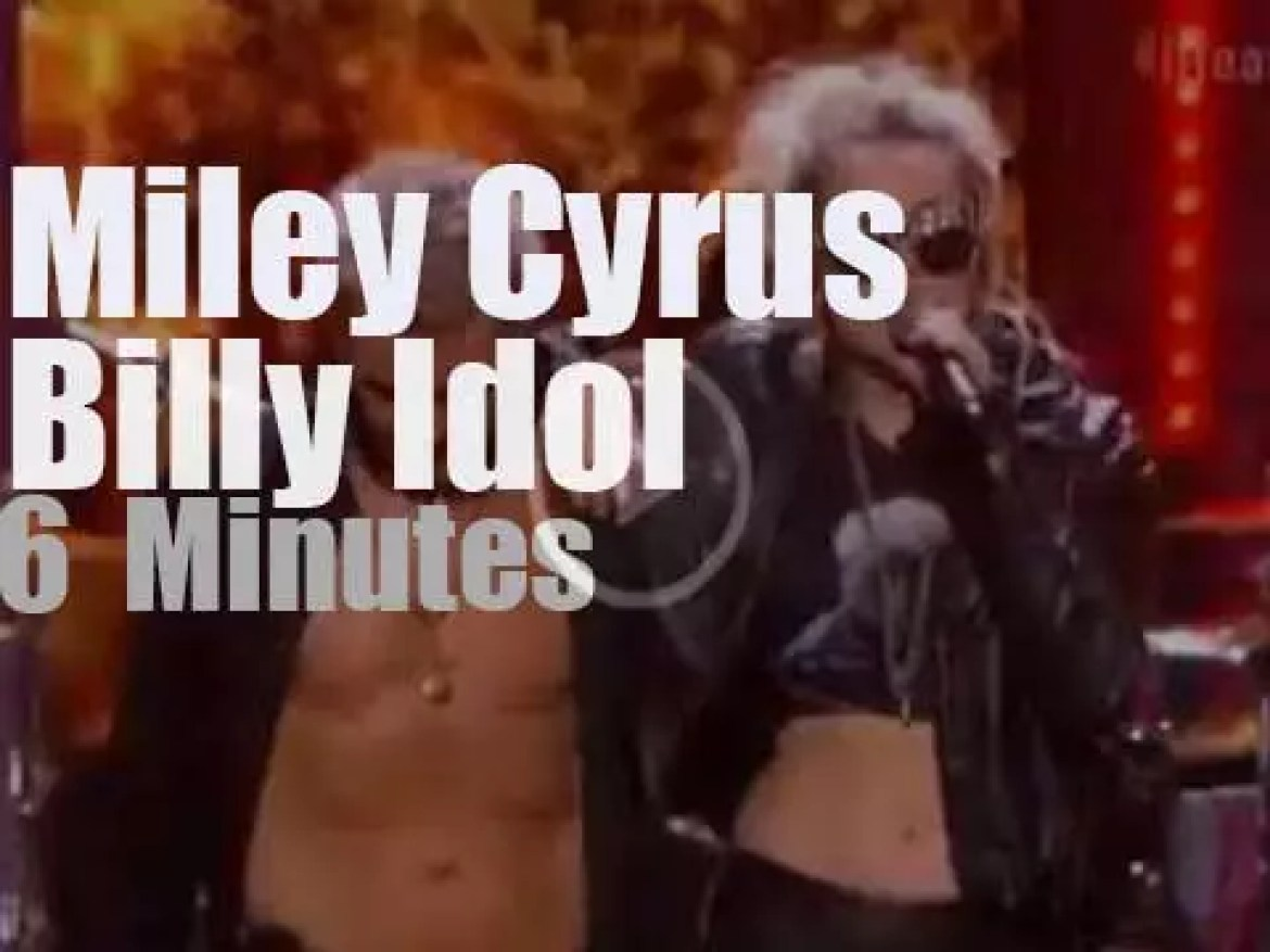 On TV today, Billy Idol meets Miley Cyrus (2016)