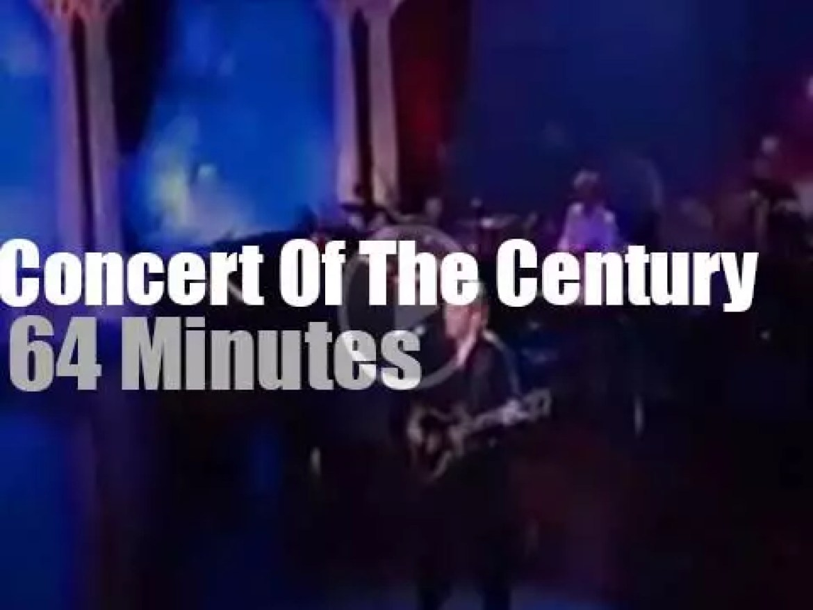 """Eric , Lenny, Sheryl et al  gather for """"The concert of the century""""  (1999)"""