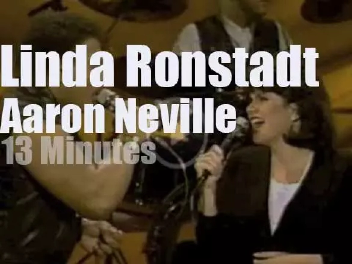 On TV today, Linda Ronstadt and Aaron Neville with Johnny Carson (1990)