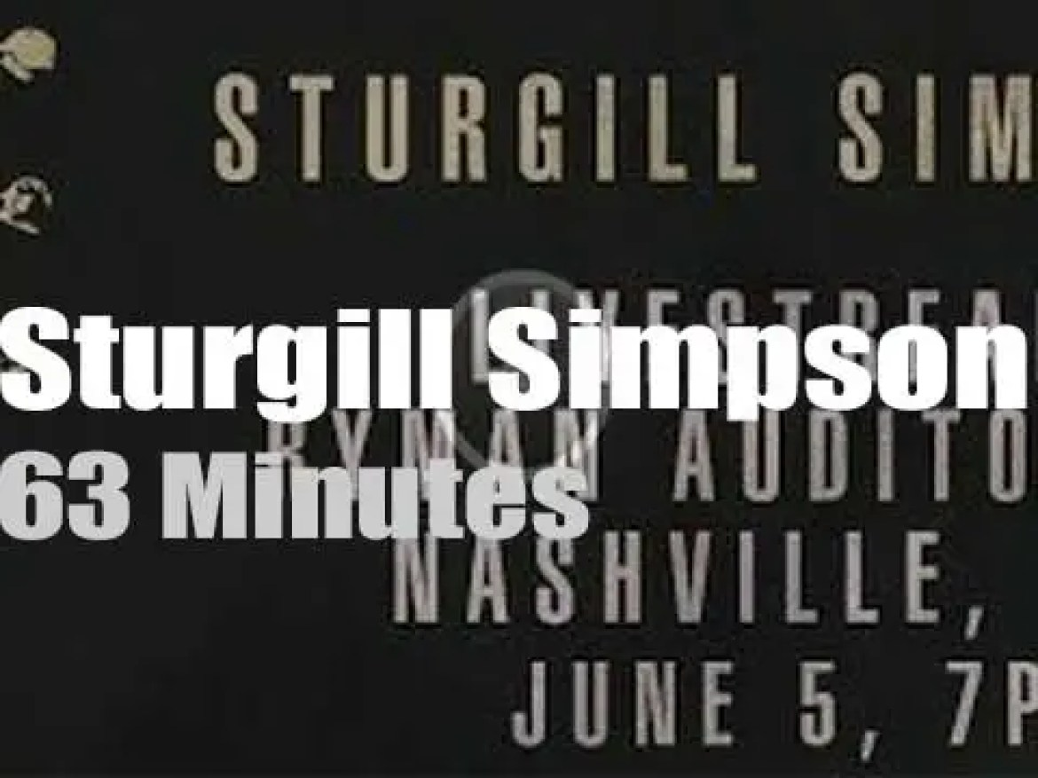 On Web TV today, Sturgill Simpson performs from Nashville (2020)