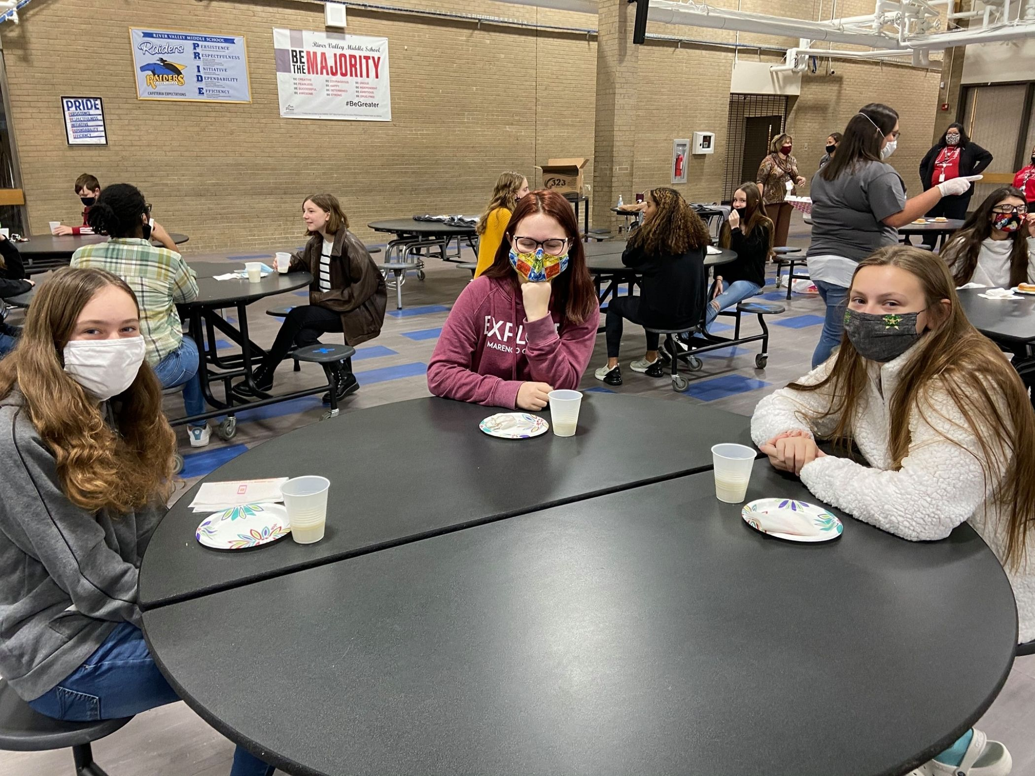 Students eating snack