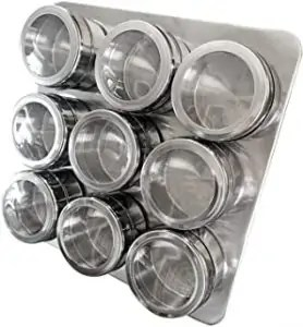 Spice Rack Set with Magnetic Jars