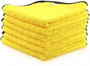 AIDEA Microfiber Detailing Towel, Cleaning Cloth Drying Towel, Scratch-Free, Strong Water Absorption Cleaning Cloth for Cars, SUVs, RVs, Trucks, and Boats, (16 in. x 24 in.)- 6PK Yellow