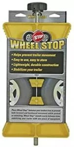 Camco RV Wheel Stop- Stabilizes Your Trailer by Securing Tandem Tires to Prevent Movement While Parked - Large (44622), Yellow
