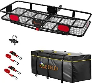 """KING BIRD Upgraded 60"""" x 24"""" x 6"""" Hitch Mount Folding Cargo Carrier Fits 2' receiver"""