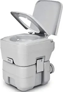 YITAHOME 5.3 Gallon Portable Travel Toilet RV Potty,Upgrade Double Outlet Water Spout,Handle Flush Pump,Detachable Water Tank,for Camping, Boating,Hiking,Trips