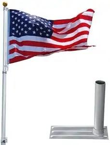 Yeshom 25ft Telescopic Aluminum RV Flag Pole + Wheel Tire Mount Stand Kit w/ 3'x5' Us Flag