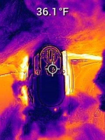 Thermal image of propane regulator at 36.1 degrees Fahrenheit - RV Winter Camping