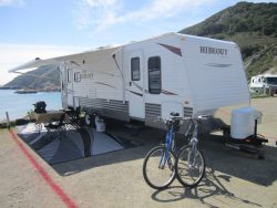 Travel Trailer Rental set up at the beach