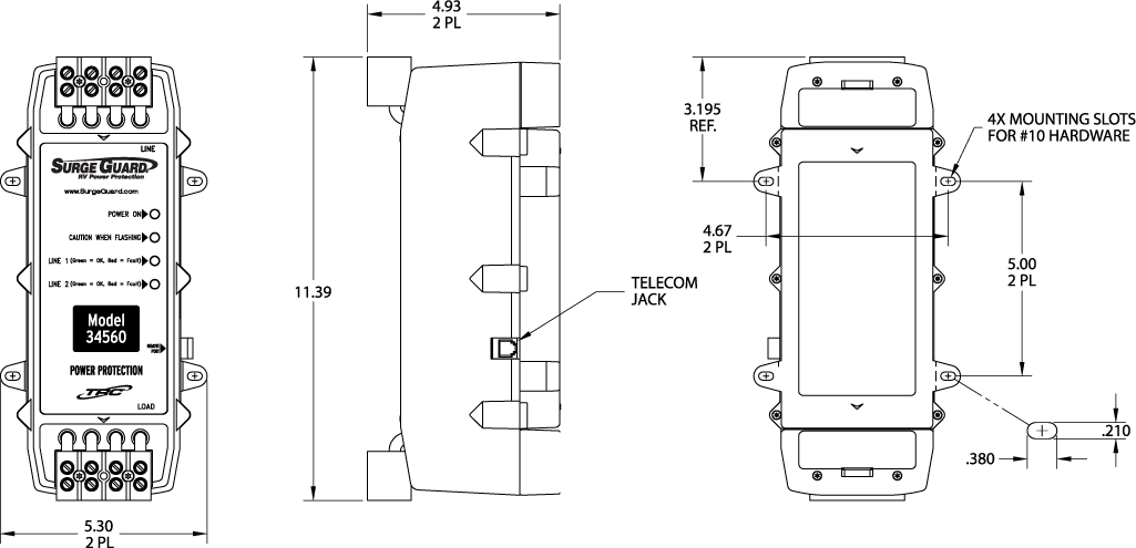 Southwire RV Hardwired Surge Protector Model 35550 Drawing