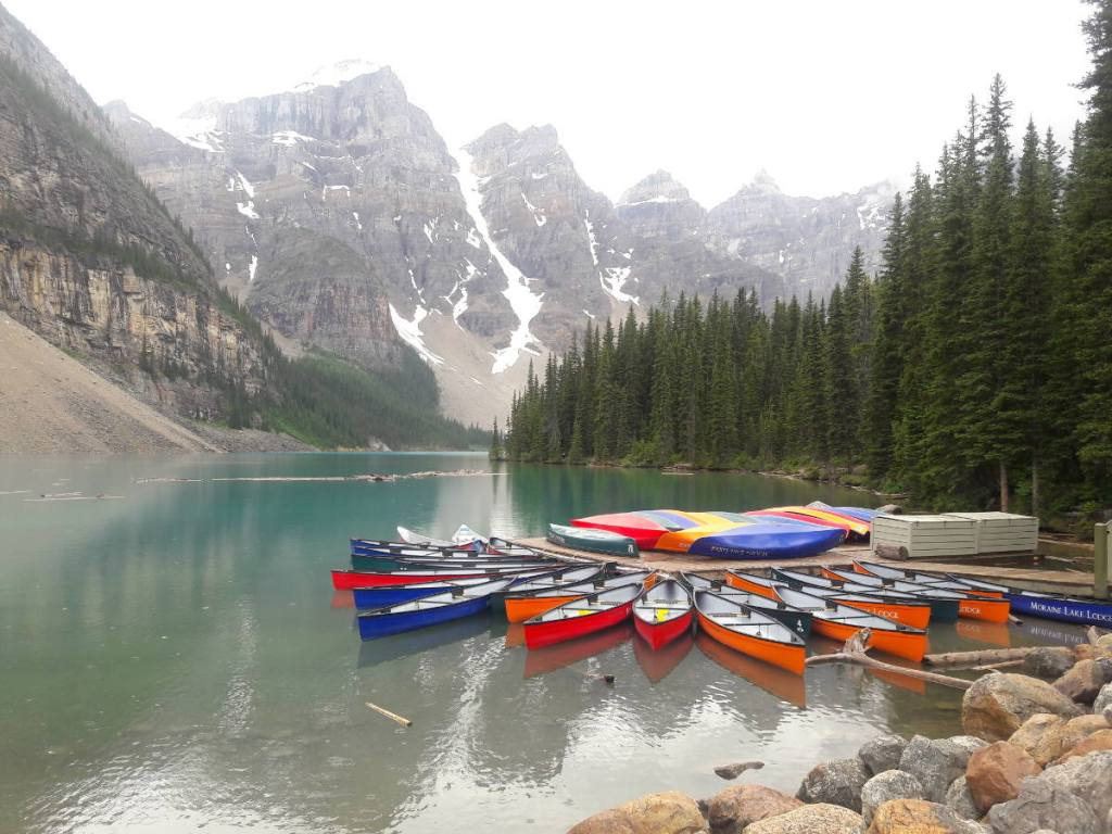 Canoes on Moraine Lake in Banff Ntnl Park Canada