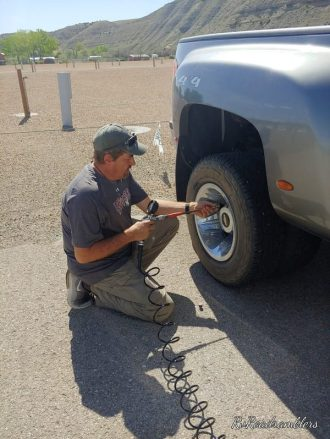 Craig filling Dually truck tires with the RV Tire Inflator