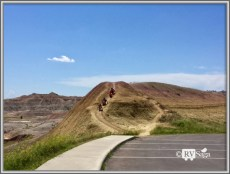 Sliding Down at Badlands. South Dakota.