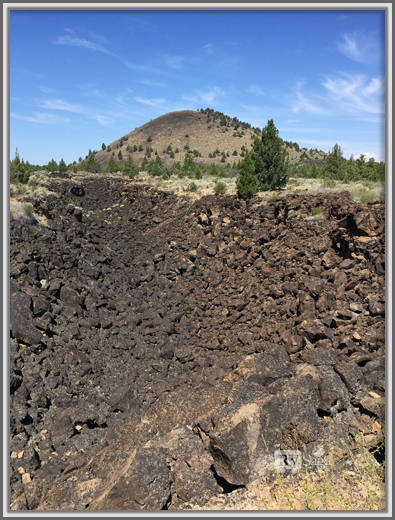 View of Schonchin Butte from Trail to Symbol Bridge, Lava Beds National Monument