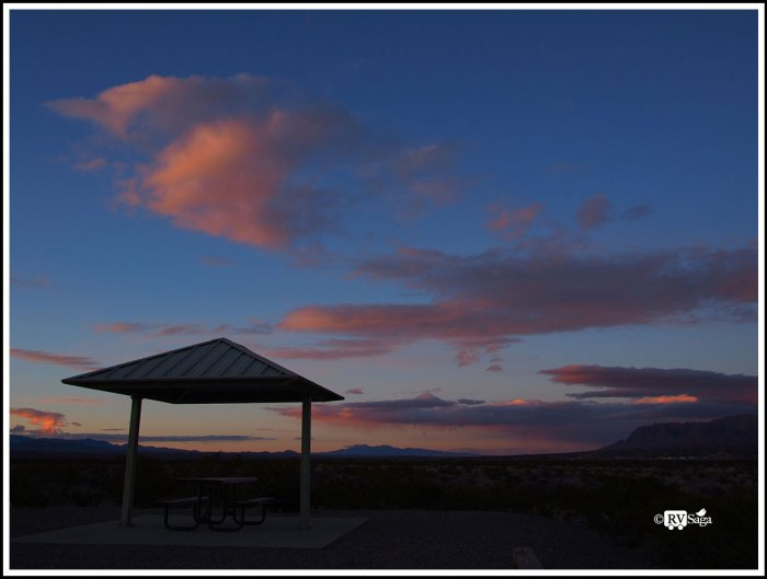 Rosy Clouds Above South Monticello Campground at Sunset