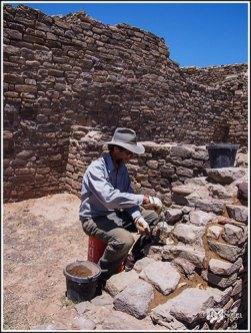 A Masonry Worker Replacing Mortar at Aztec Ruins