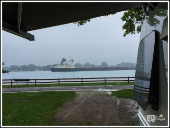 Watching Freighters Going by on St. Clair River at Algonac State Park in the Rain