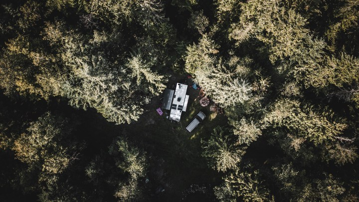 Boondocking in the middle of a private forest.