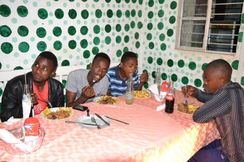 Meal with Jean de dieu, Alphonse, Emmanuel