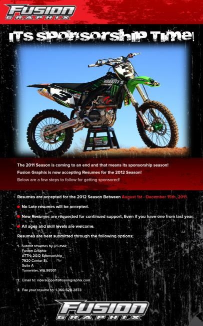 Fusion Graphix Accepting Resumes for 2012 Season  Racer X