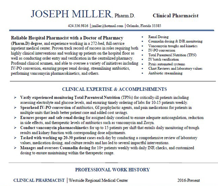 Clinical Pharmacist Resume Resume Ideas