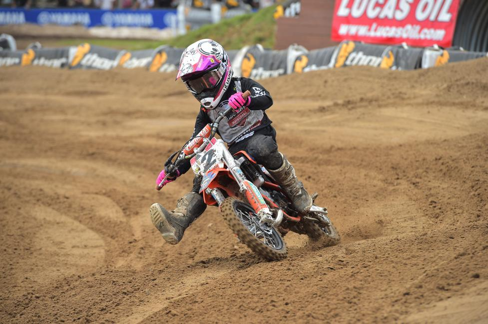 Seth Dennis earned the 50cc (7-8) Limited moto win yesterday.
