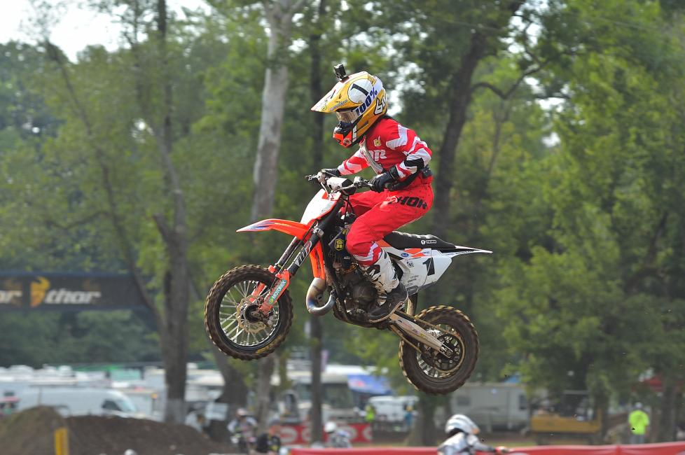 Haiden Deegan finished 36 seconds ahead of the rest of the 65cc (7-11) field yesterday.