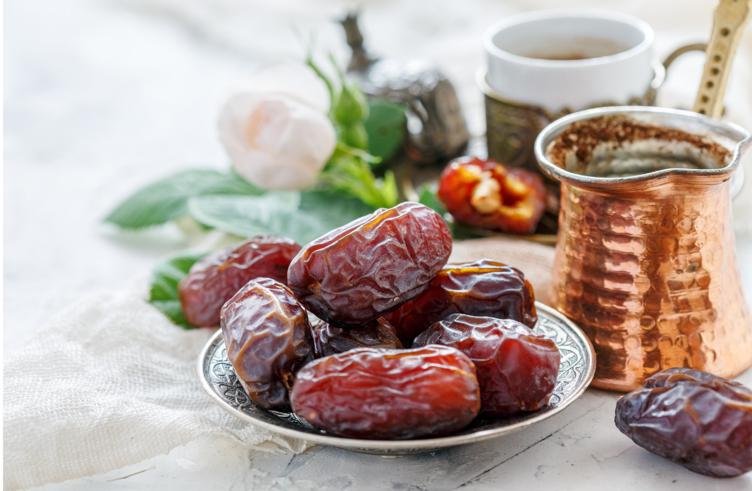 Plate full of dates for Ramadan Iftaar (evening meal)