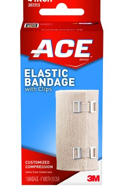 Elastic Bandage 3M™ ACE™ 4 Inch Width Standard Compression Clip Detached Closure Tan NonSterile