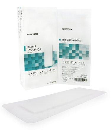 Adhesive Dressing McKesson 4 X 10 Inch Polypropylene / Rayon Rectangle White Sterile