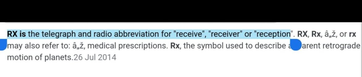 "An image showing a dictionary definition of the term ""Rx"" to mean reception of TV and radio."