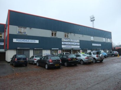 Outside the ground before watching Rochdale v Chesterfield