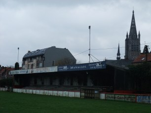 The tower of the cloth hall overlooks the ground