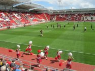 The Rotherham cheerleaders perform ahead of kick off