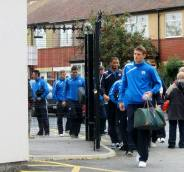The Chesterfield players make their way into the stadium