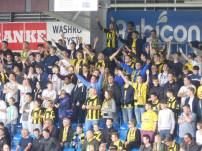 The Burton fans are in high spirits as their side sits top of the League 1 table