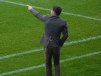 Dean Saunders shouts orders from the touchline
